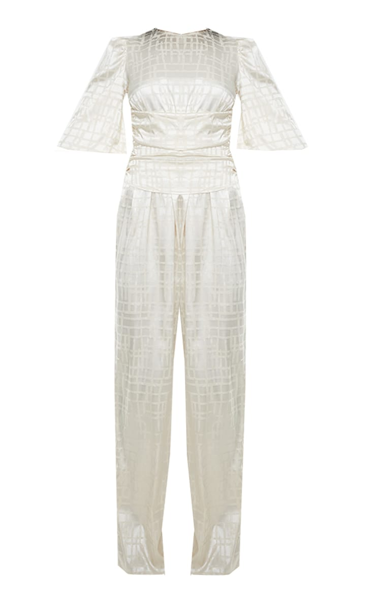 Champagne Satin Jacquard Short Sleeve Ruched Jumpsuit 5