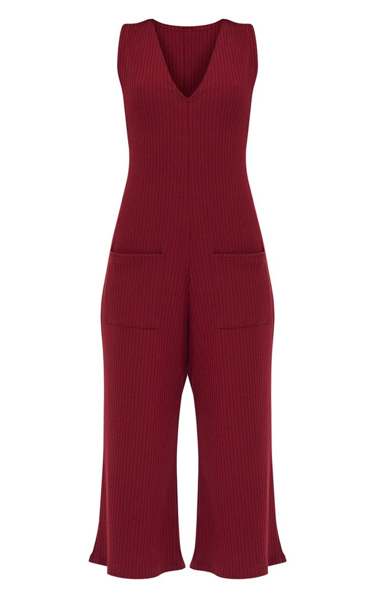 Burgundy Ribbed Culotte Pocket Jumpsuit 3