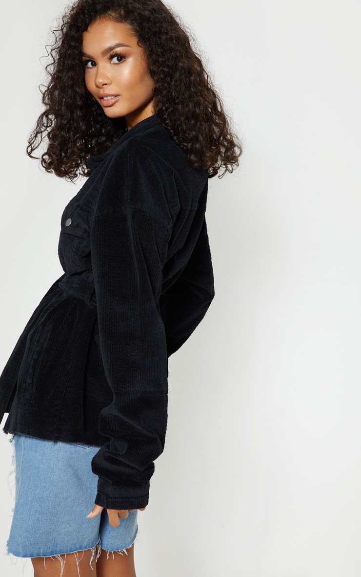 Black Cord Belted Waist Jacket 2