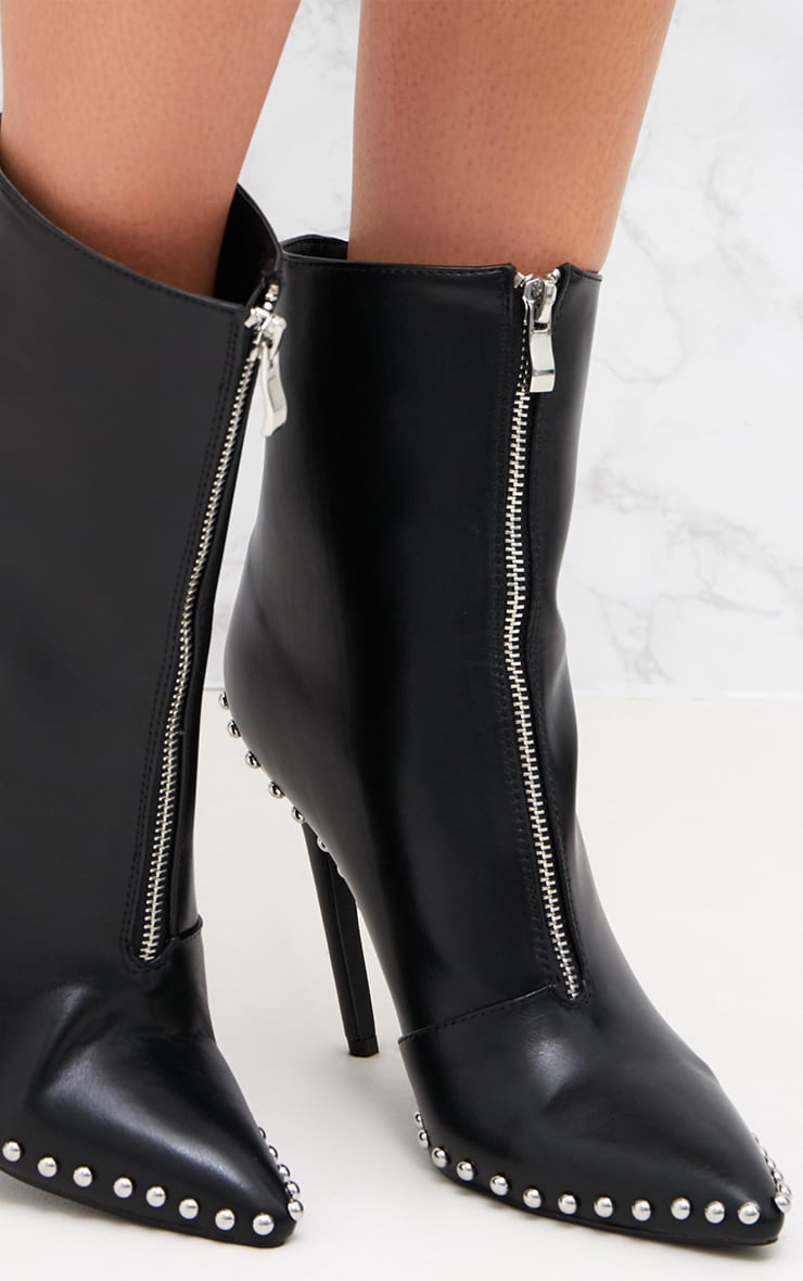 Black PU Studded Zip Pointy Ankle Boots  5