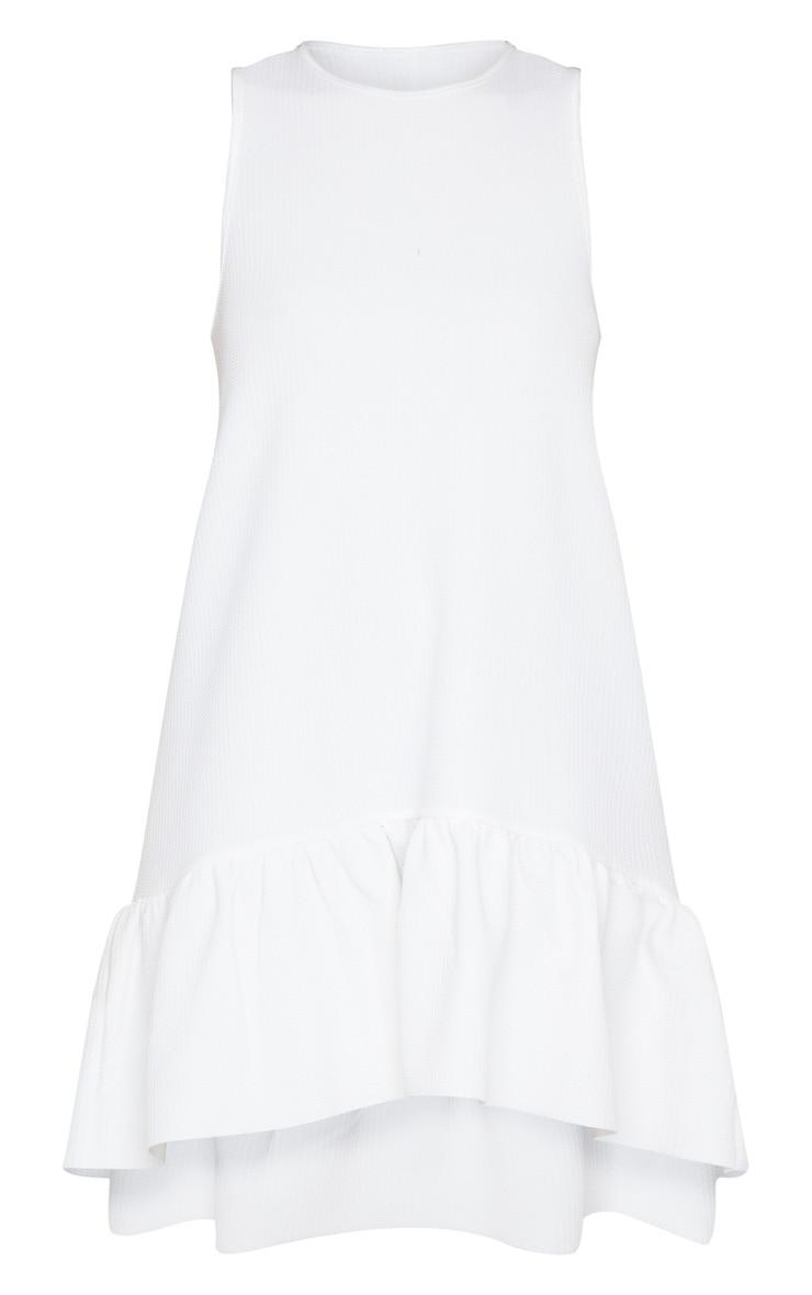 White Textured Frill Hem Racer Shift Dress 5
