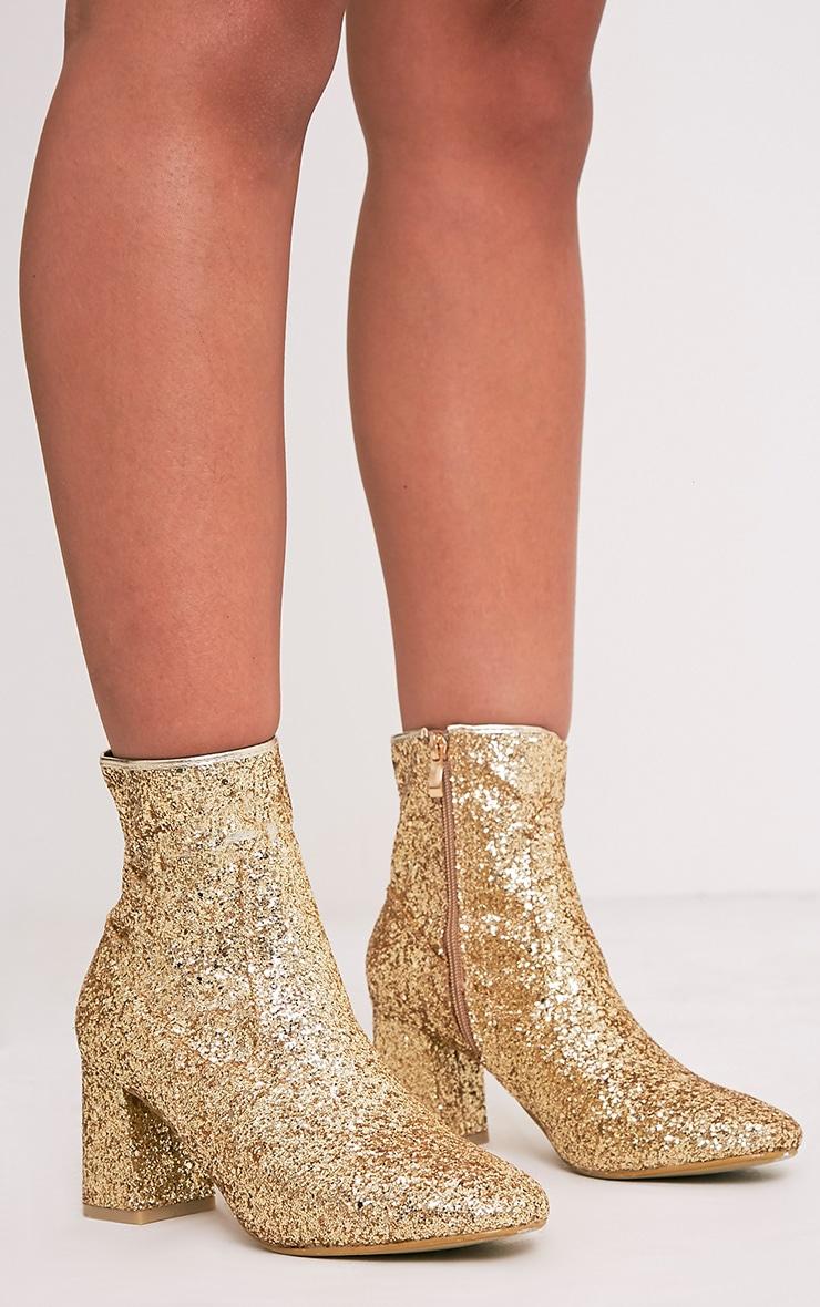 Rhianne Gold Glitter Ankle Boots 2