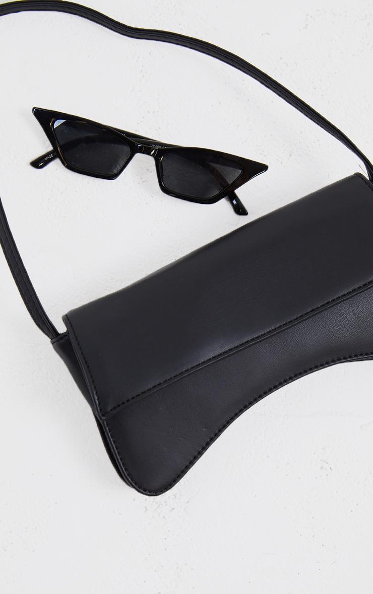 Black PU Flap Over Baguette Shoulder Bag 2