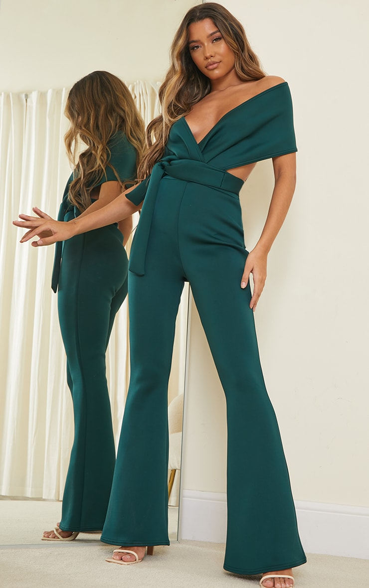 Emerald Green Bardot Flared Leg Scuba Jumpsuit