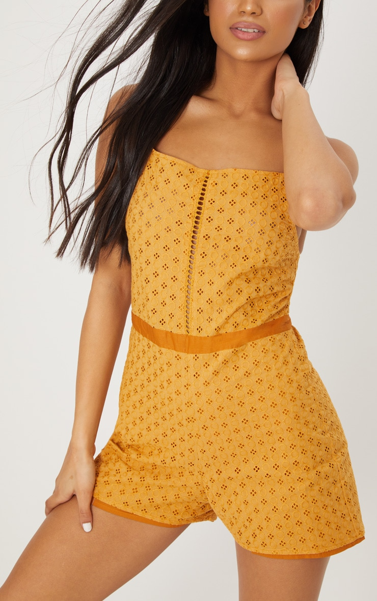 Mustard Broderie anglaise Straight Neck Playsuit 5