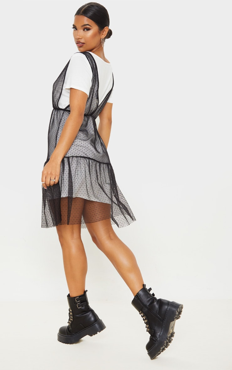 Black Dobby Mesh Midi Overlay T Shirt Dress  2