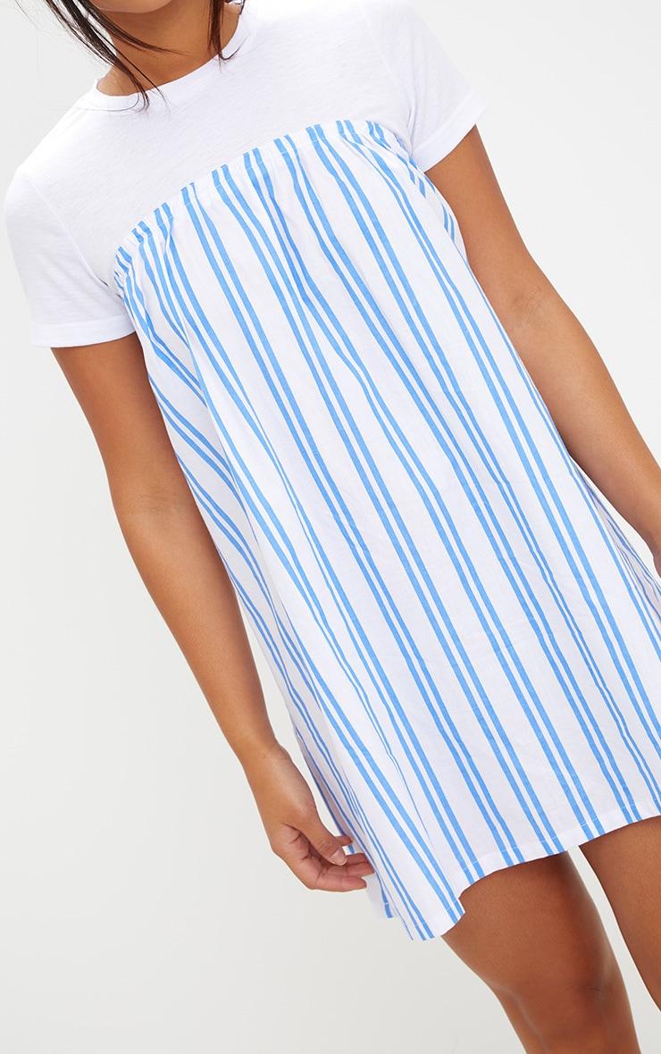 White Striped T Shirt Dress 5