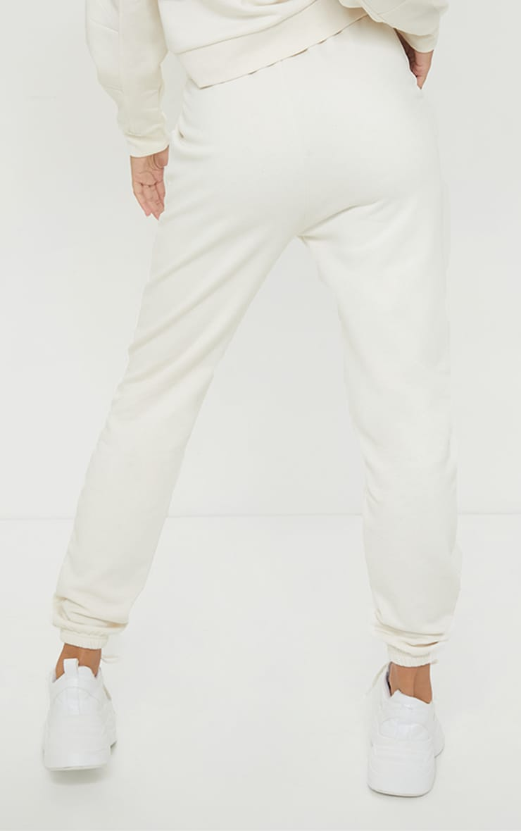 PRETTYLITTLETHING Cream Badge Detail Cuffed Joggers 3
