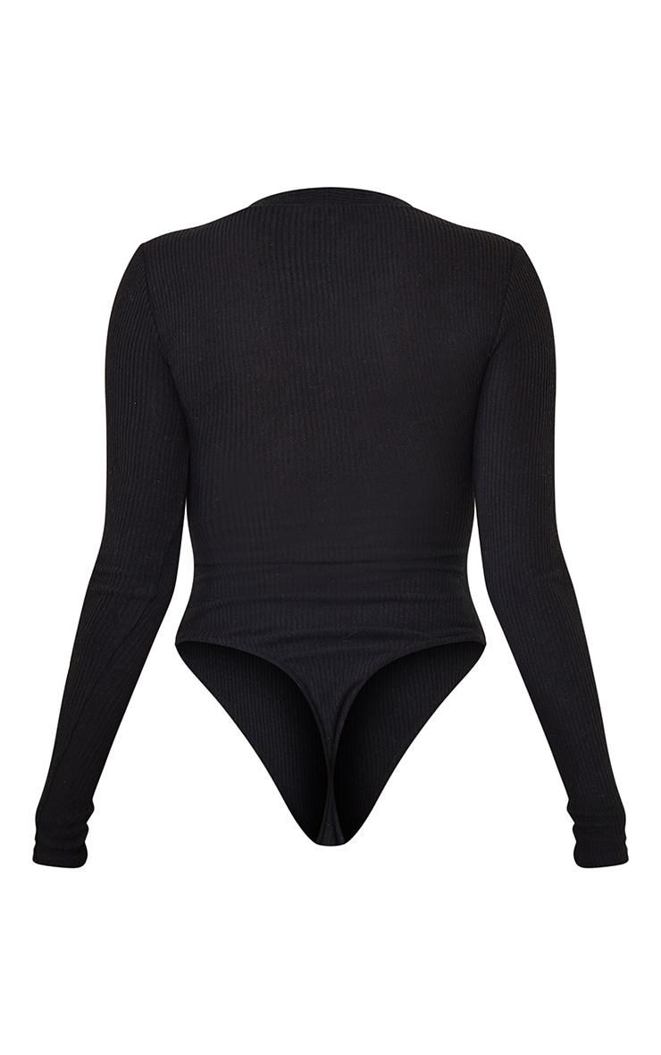 Shape Black Brushed Rib Long Sleeve Square Neck Bodysuit 6