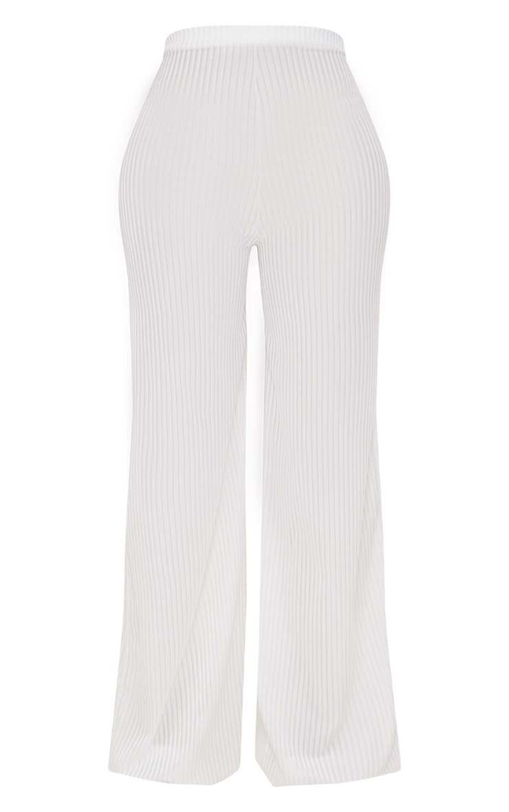 Shape White Striped Velvet Wide Leg Trousers 3