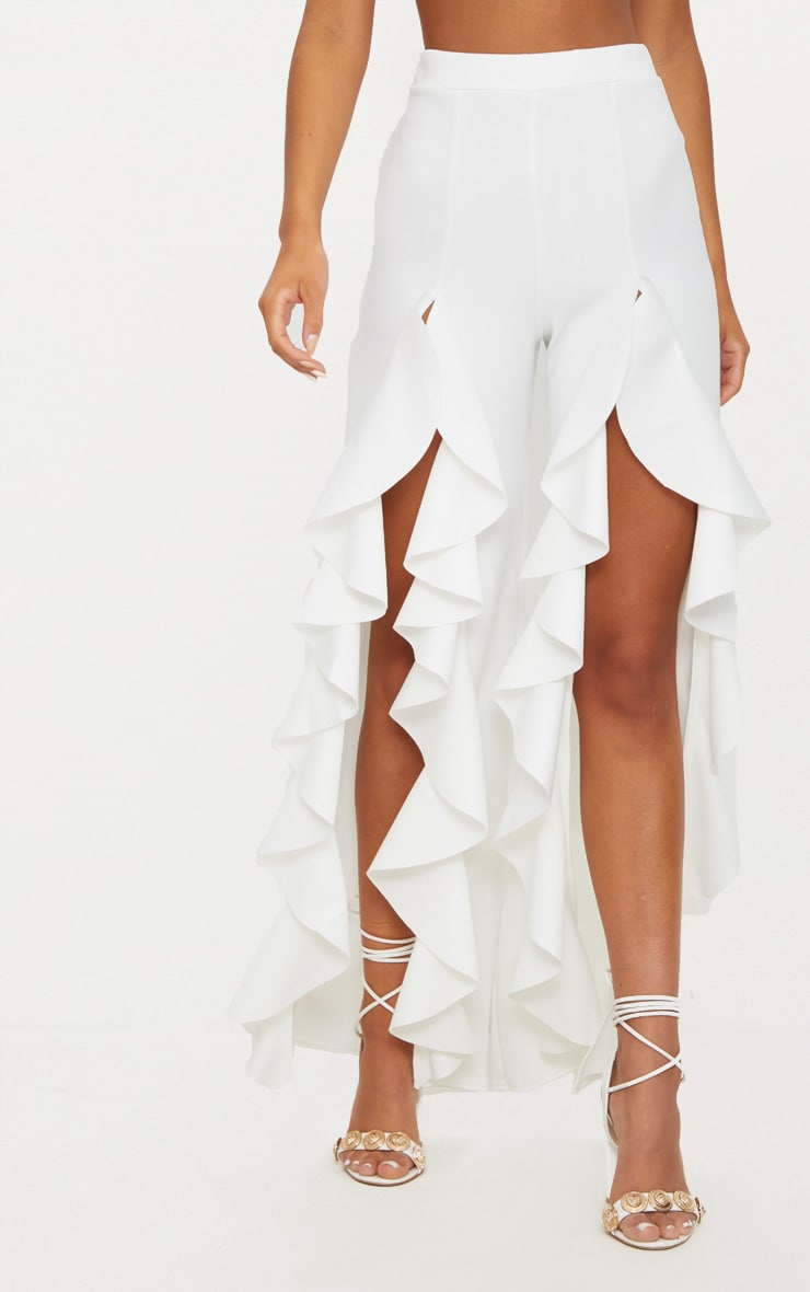 White Ruffle Front Wide Leg Pants  2