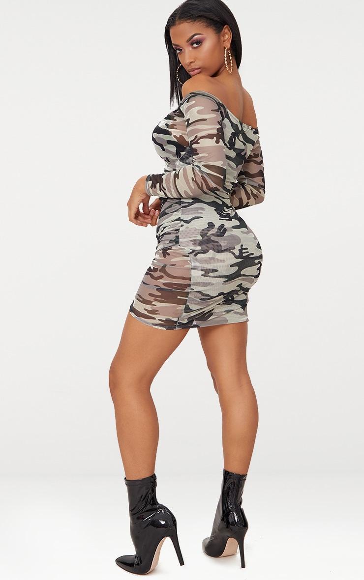 Shape Khaki Mesh Camo Ruched Bardot Bodycon Dress 3