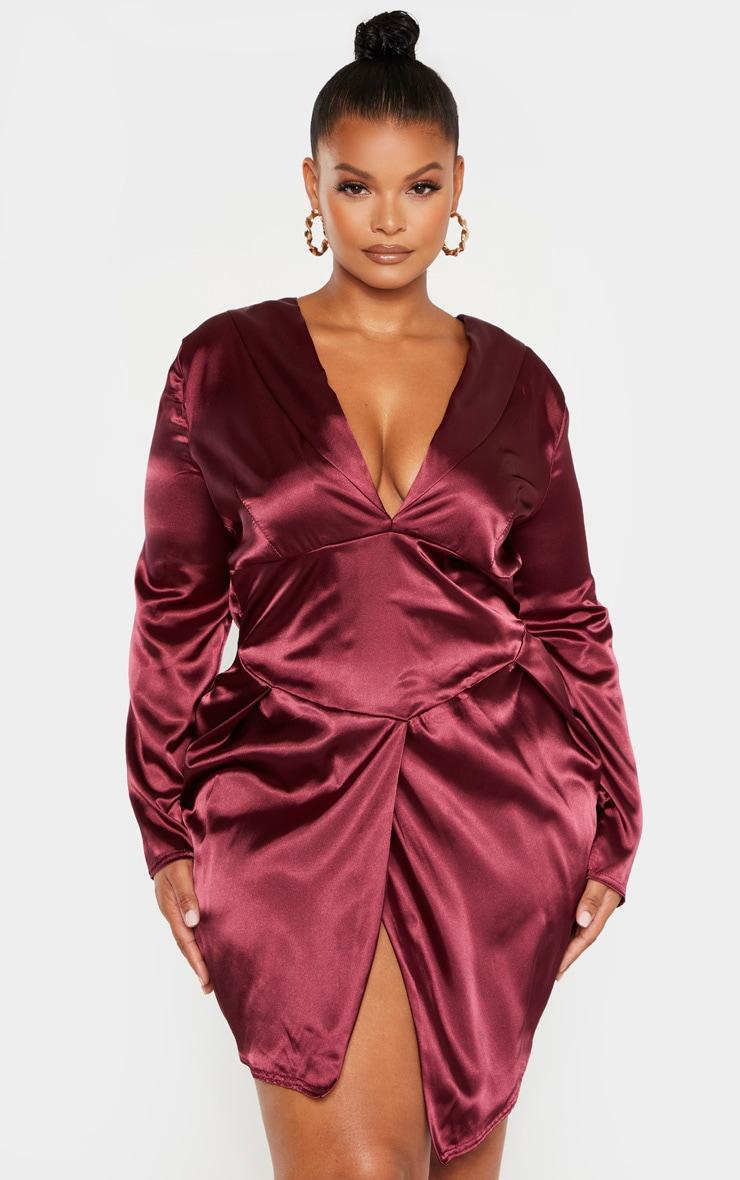 Plus Burgundy Satin Corset Bodycon Dress 1