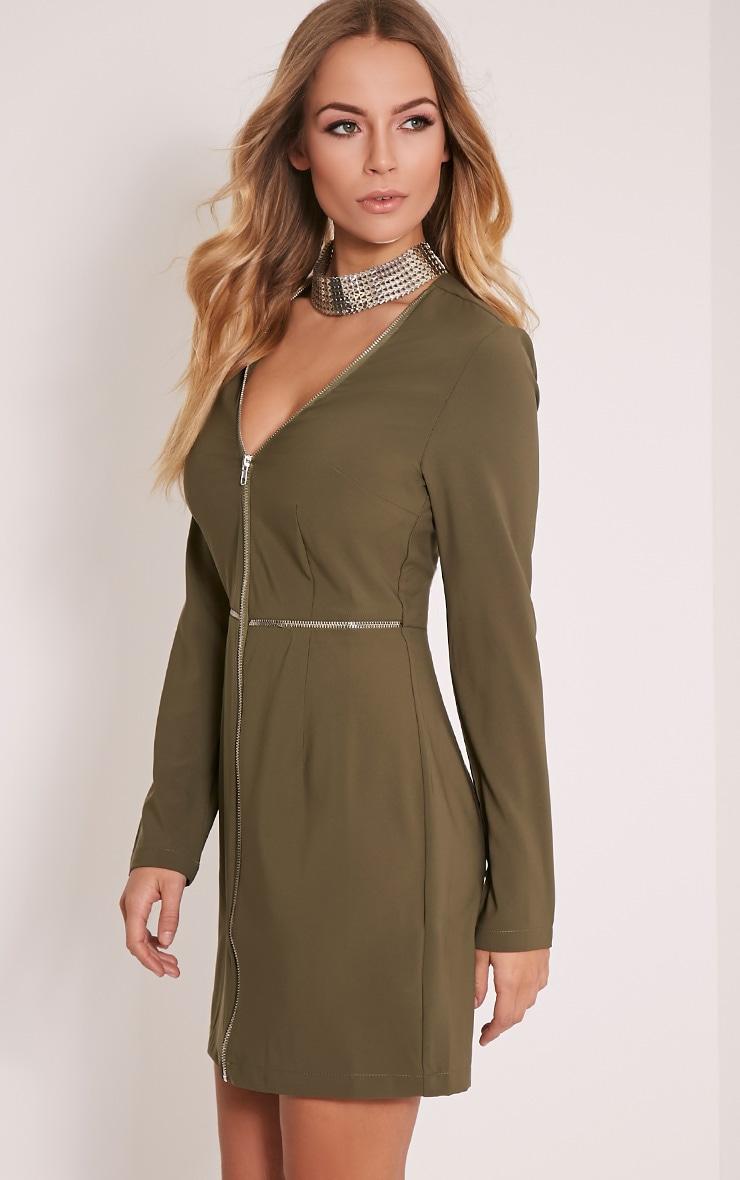Charlene Khaki Zip Detail Bodycon Dress 4