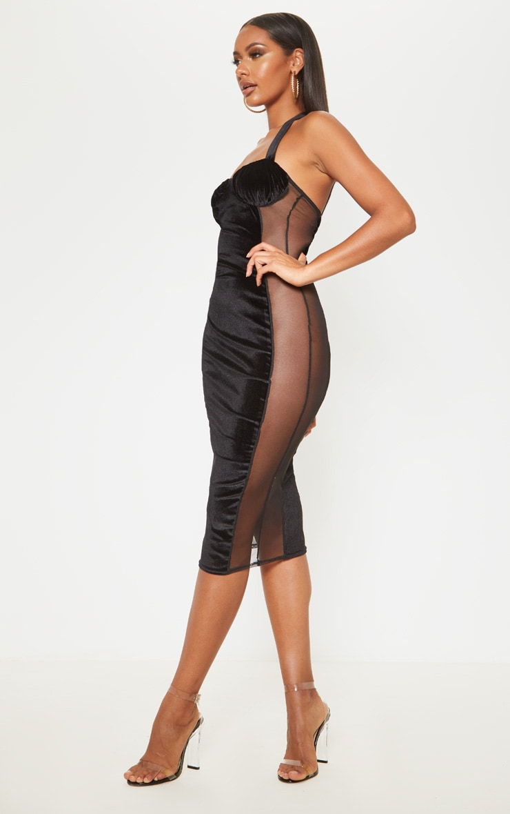 Black Velvet Mesh Insert Halterneck Midi Dress 4