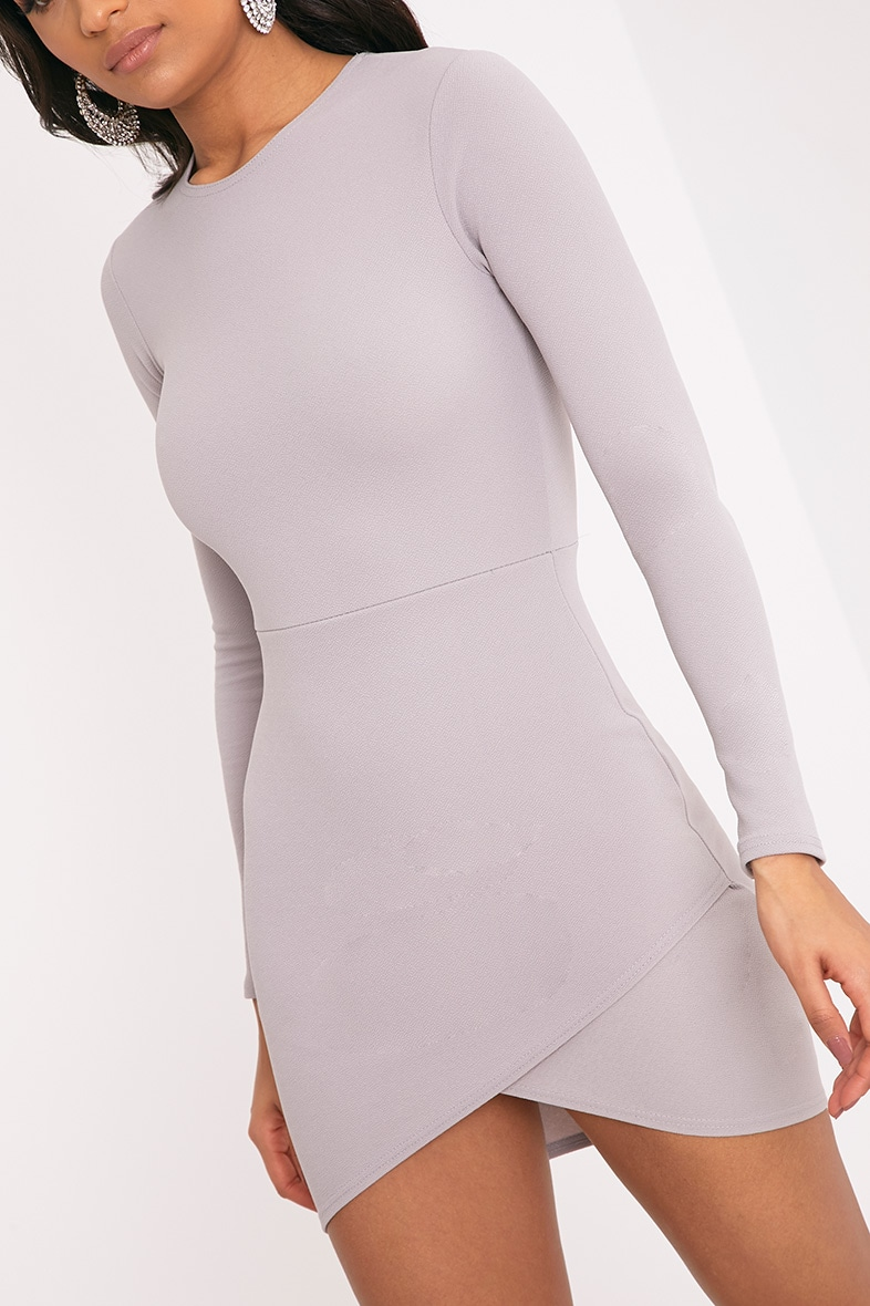 Dove Grey Long Sleeve Wrap Skirt Bodycon Dress 4