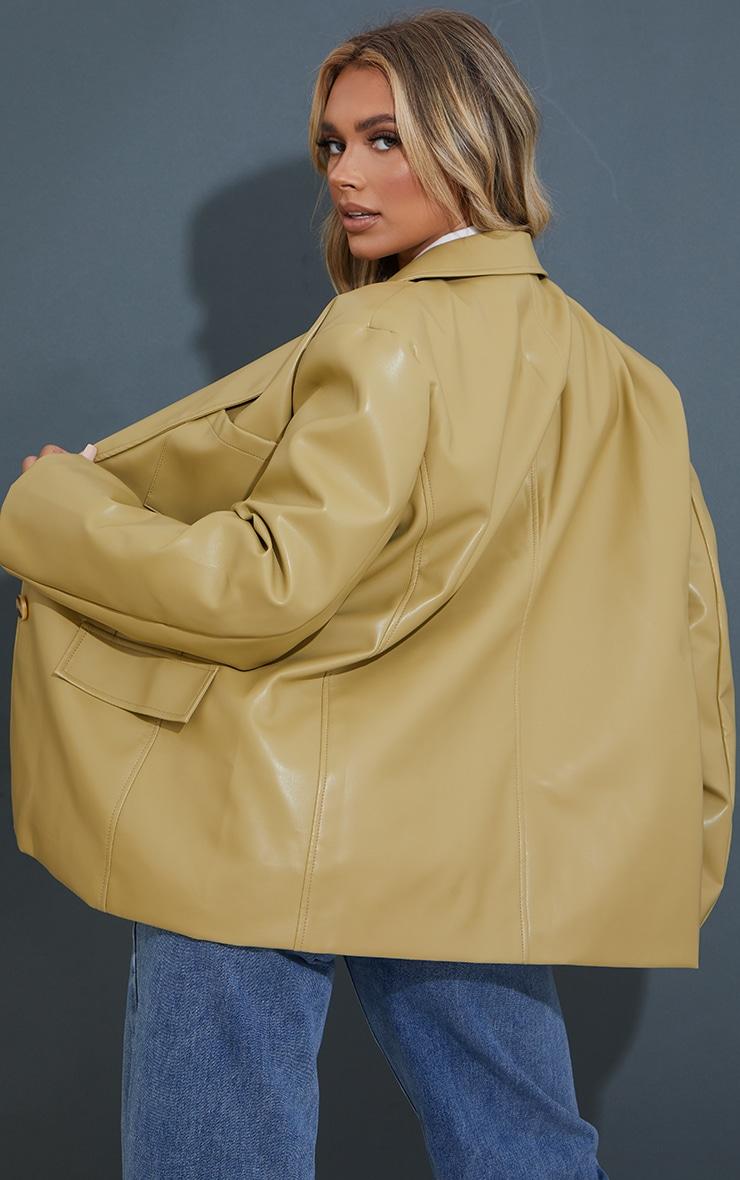 Olive Premium Faux Leather Pocket Detail Blazer 2