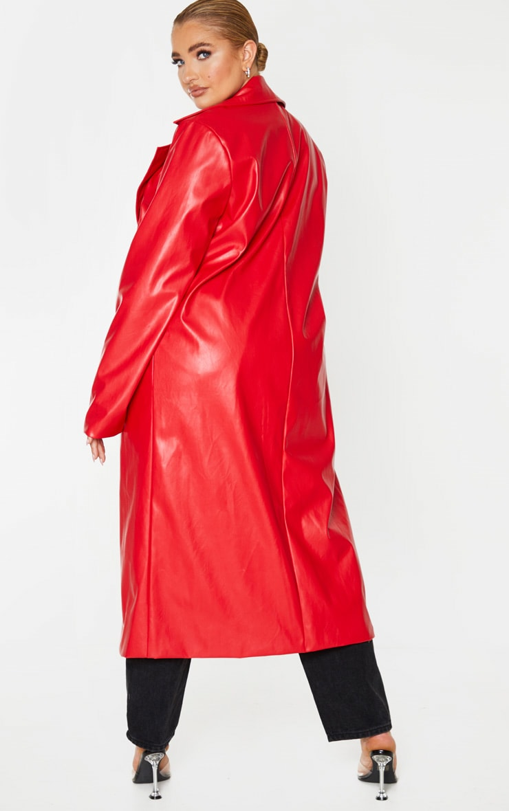 Plus Red PU Longline Trench 2