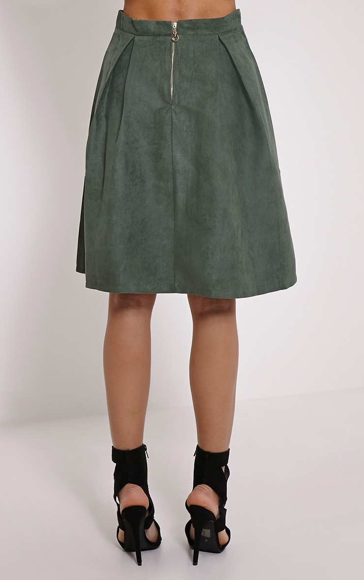 Teagon Khaki Pleated Faux Suede A-Line Midi Skirt 4