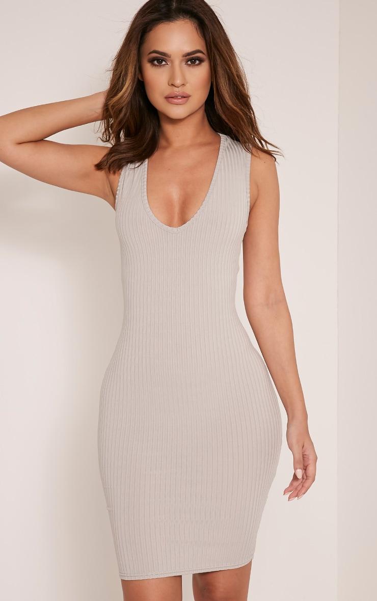 Gayna robe moulante plongeante côtelée grise 1