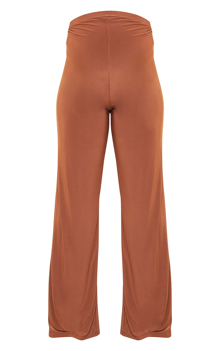Maternity Brown Slinky Wide Leg Pants 5
