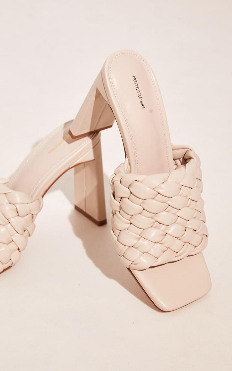 Cream Basket Weave Square Toe High Flat Block Heel Mules 4