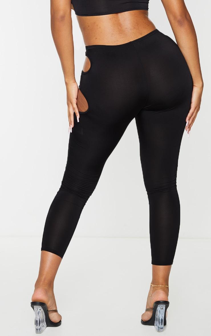 Shape Black Slinky Cut Out Side Leggings 3