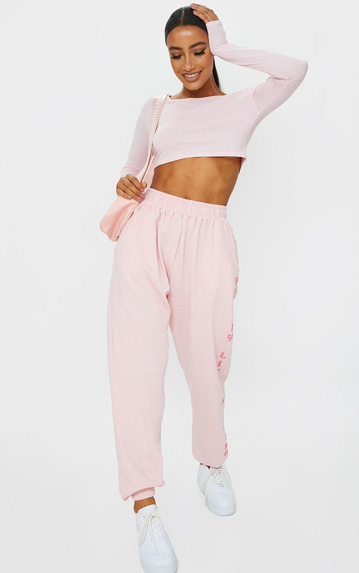 Basic Pink  Jersey Long Sleeve Crop Top 3