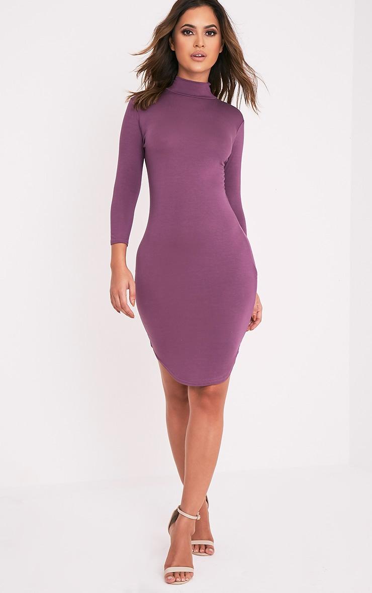 Alby Aubergine 3/4  Sleeve Curve Hem Bodycon Dress 4