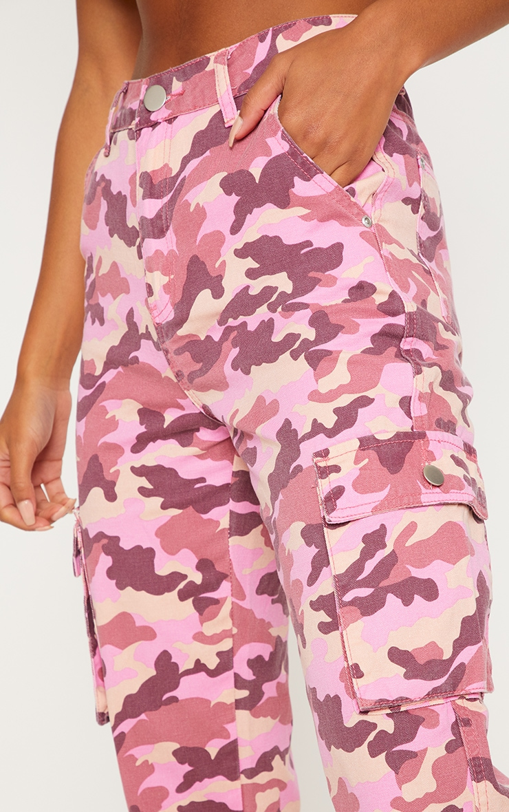 Pink Camo Cargo Pocket Jeans  4