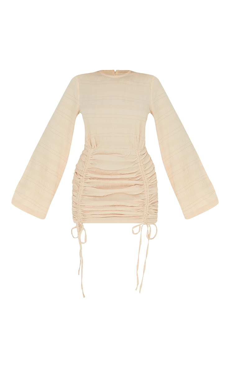 Stone Textured Ruched Detail Flare Sleeve Bodycon Dress 5