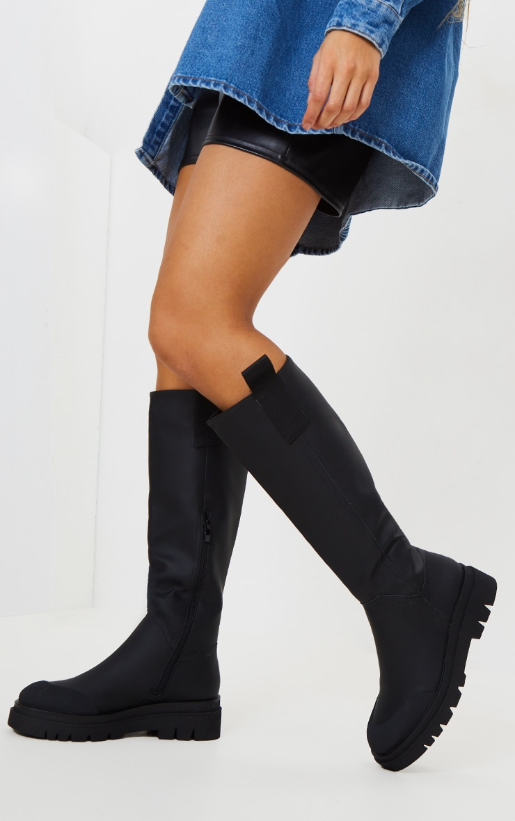 Black Rubber Chunky Sole Rain Boots 1