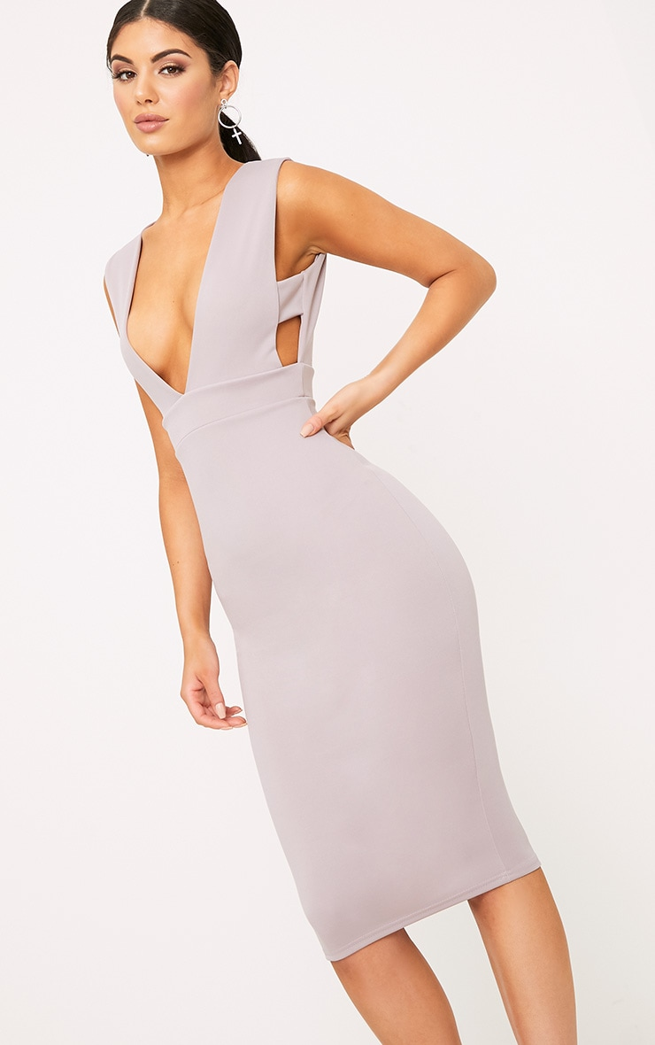 Lilac Grey Strap Side Plunge Midi Dress 1