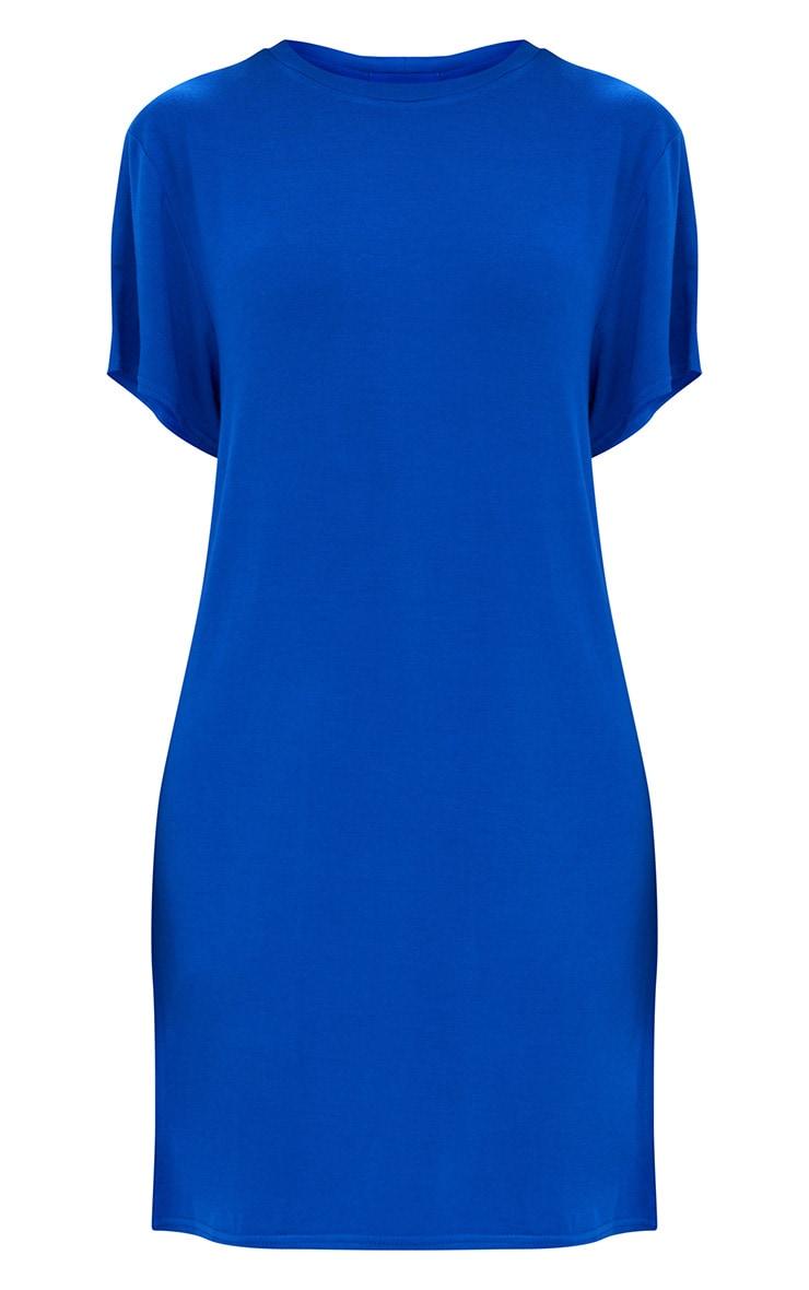 Basic Cobalt Short Sleeve T Shirt Dress 3