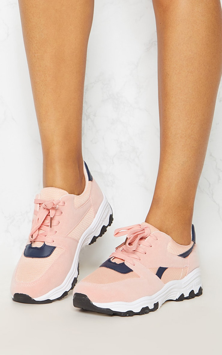Pink Lace Up Chunky Trainer 2