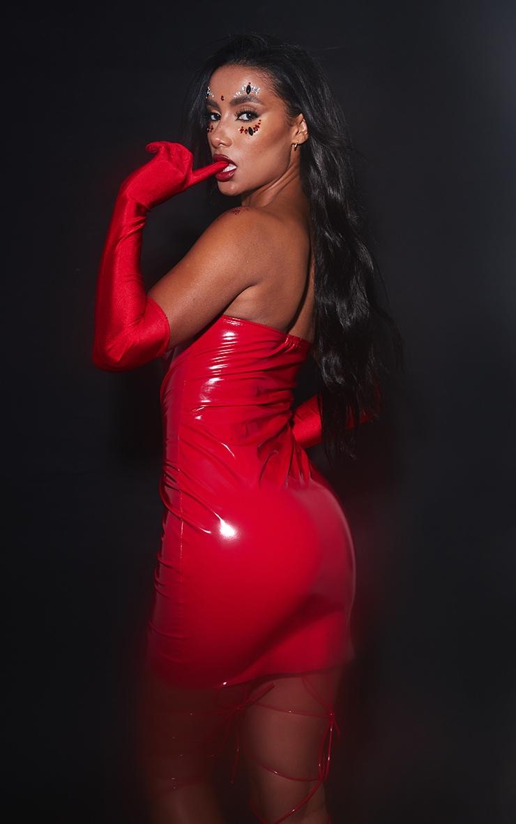 Red PU Bandeau Bodycon Dress 3