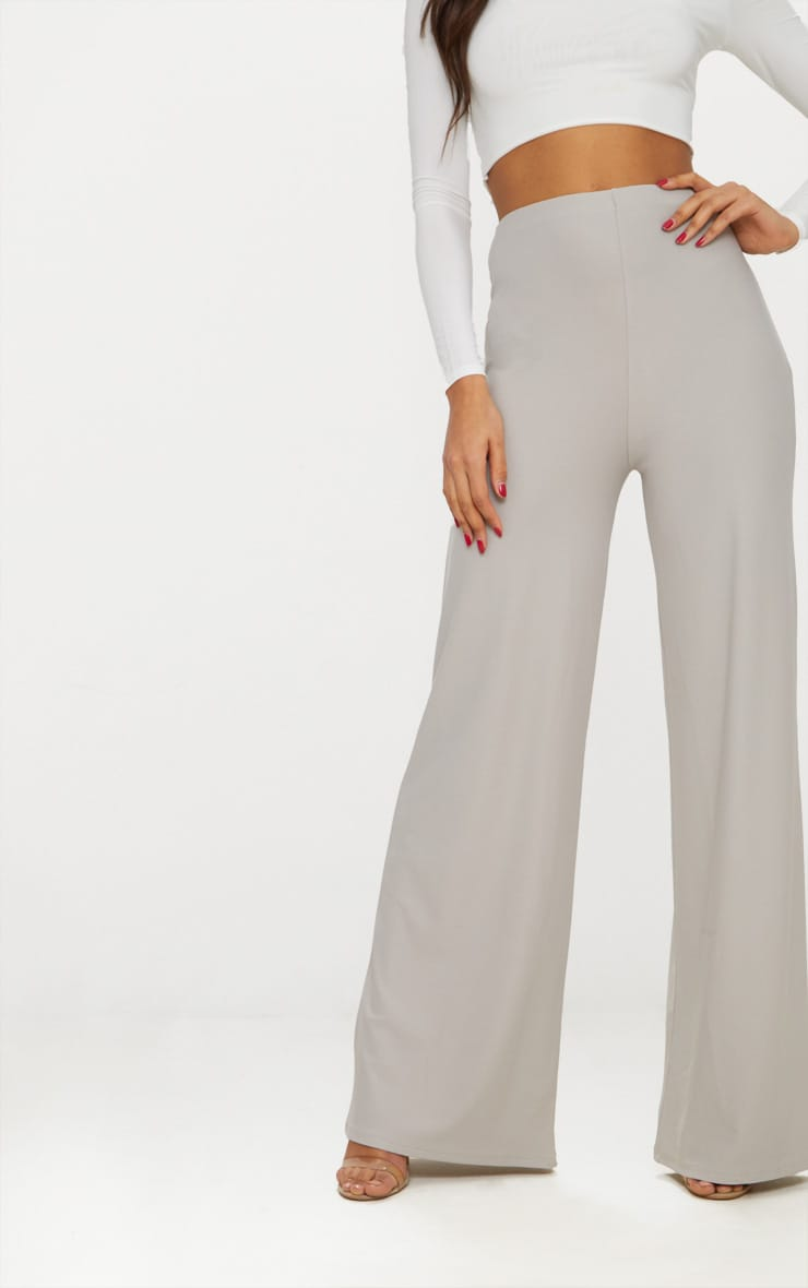 Grey High Waisted Wide Leg Trousers 2