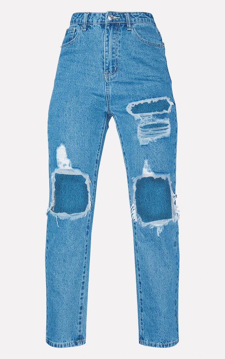PRETTYLITTLETHING Mid Blue Distressed Straight Leg Jean 3