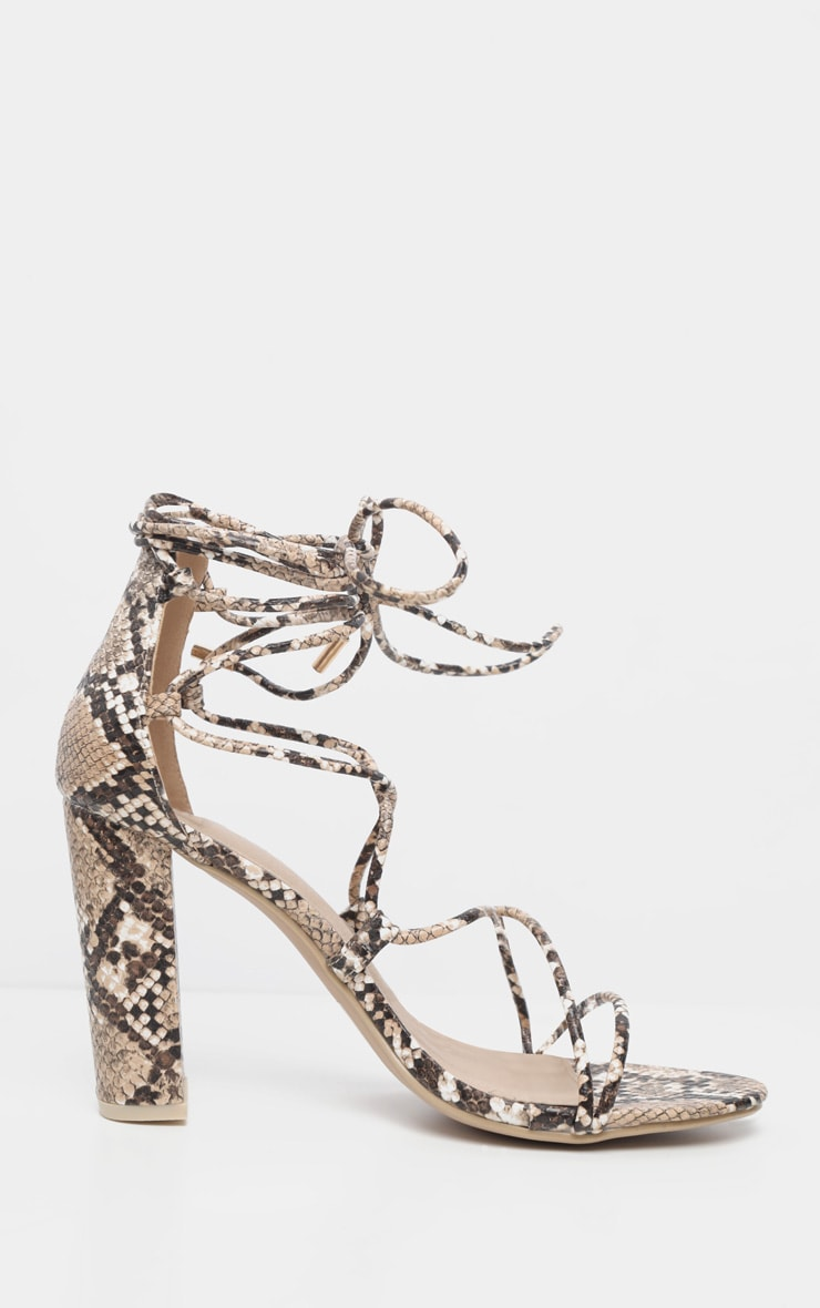 Snake Block Heel Ghillie Tie Up Sandal 3