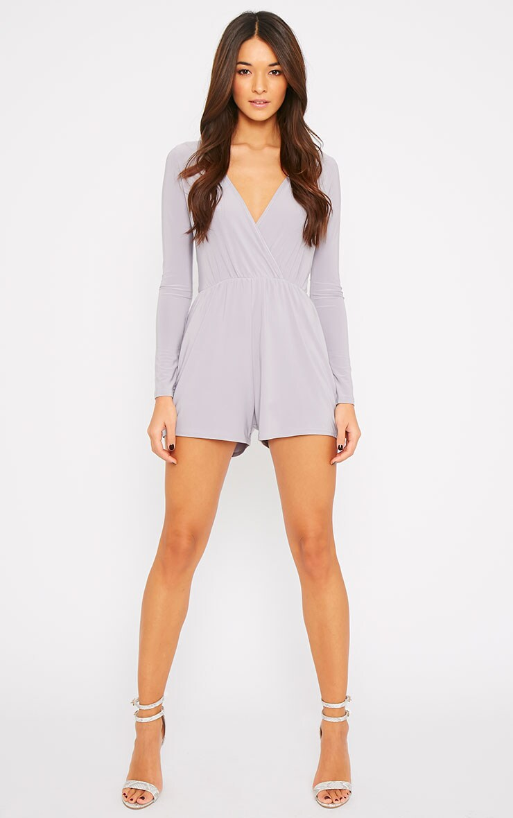 Tilly Grey Slinky Wrap Over Playsuit  4