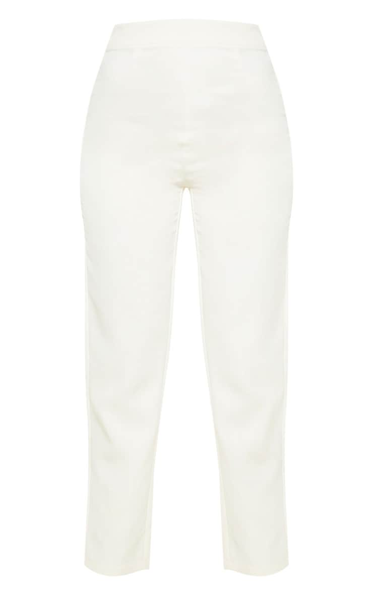 Cream High Waisted Cigarette Pants 3