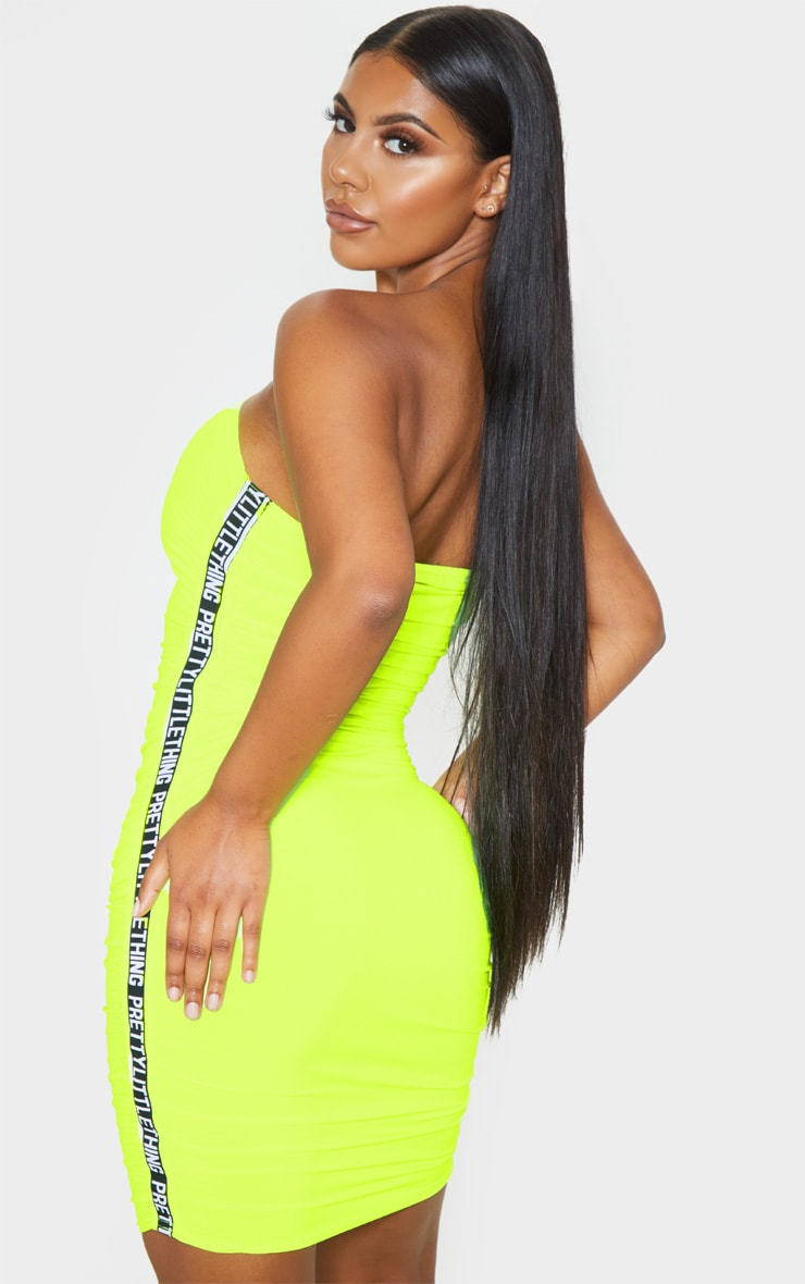 PRETTYLITTLETHING Neon Lime Ruched Bandeau Bodycon Dress 2