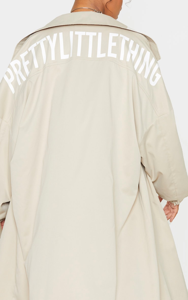 PRETTYLITTLETHING Plus Stone Contrast Panel Trench Coat 7
