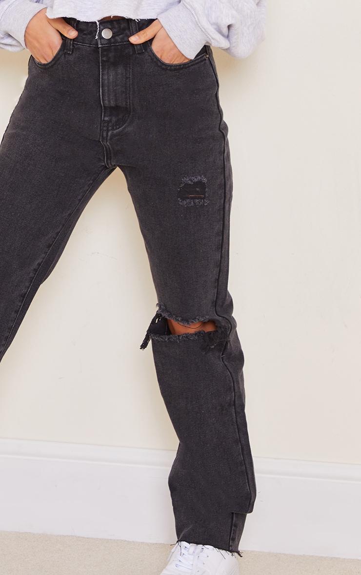 Petite Knee Rip Black Wash Long Leg Straight Jeans 4