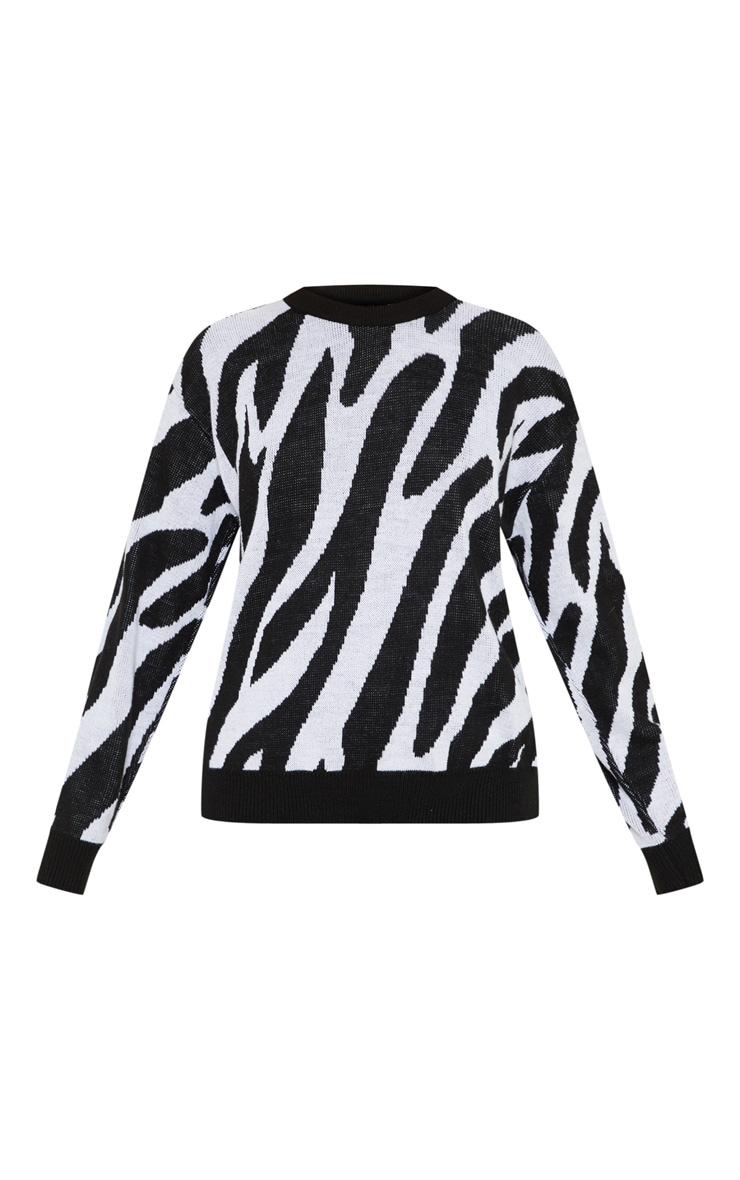 Petite White Zebra Print Sweater  3