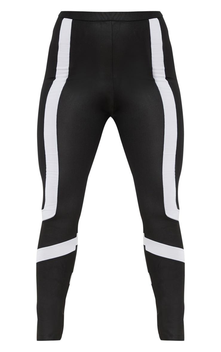 Black Wet Look Contrast Panel Legging 3