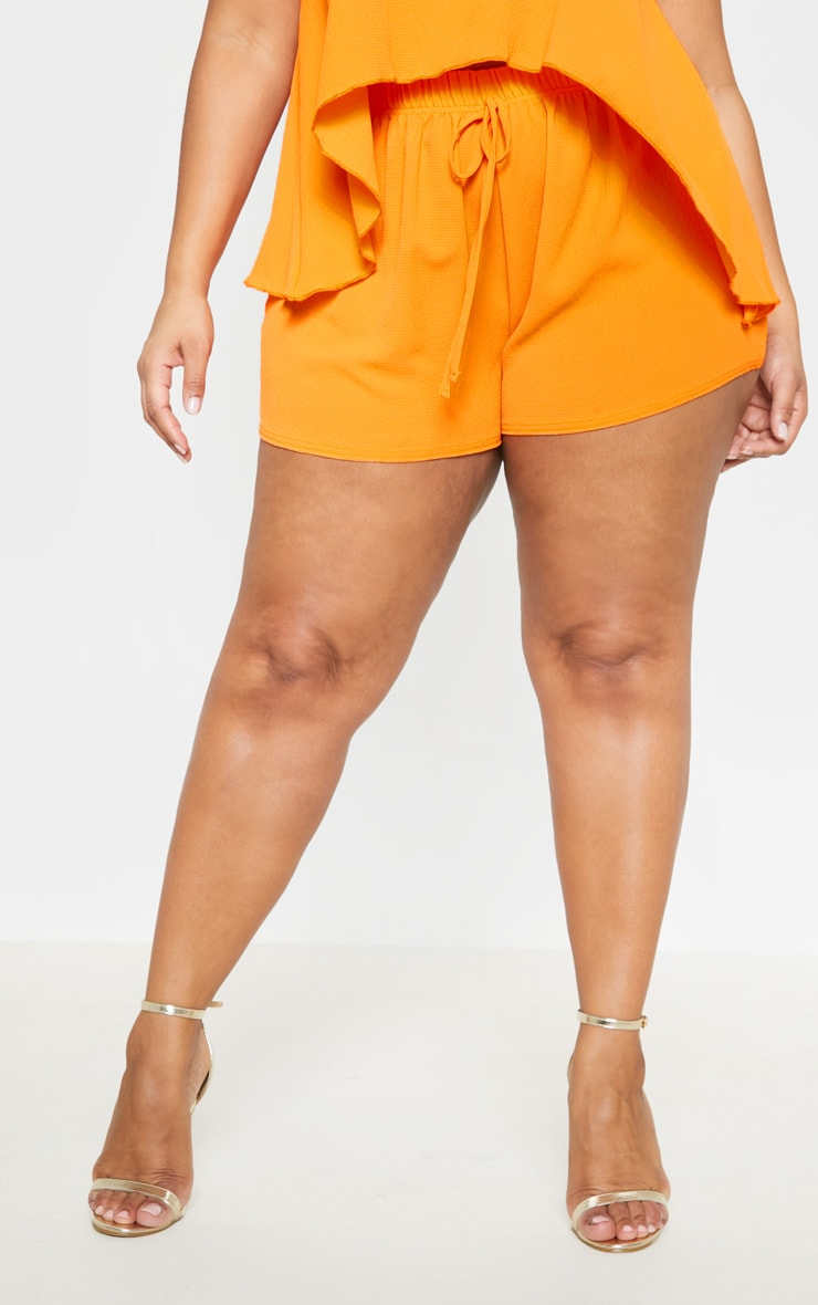 Plus Bright Orange Drawstring Shorts  2