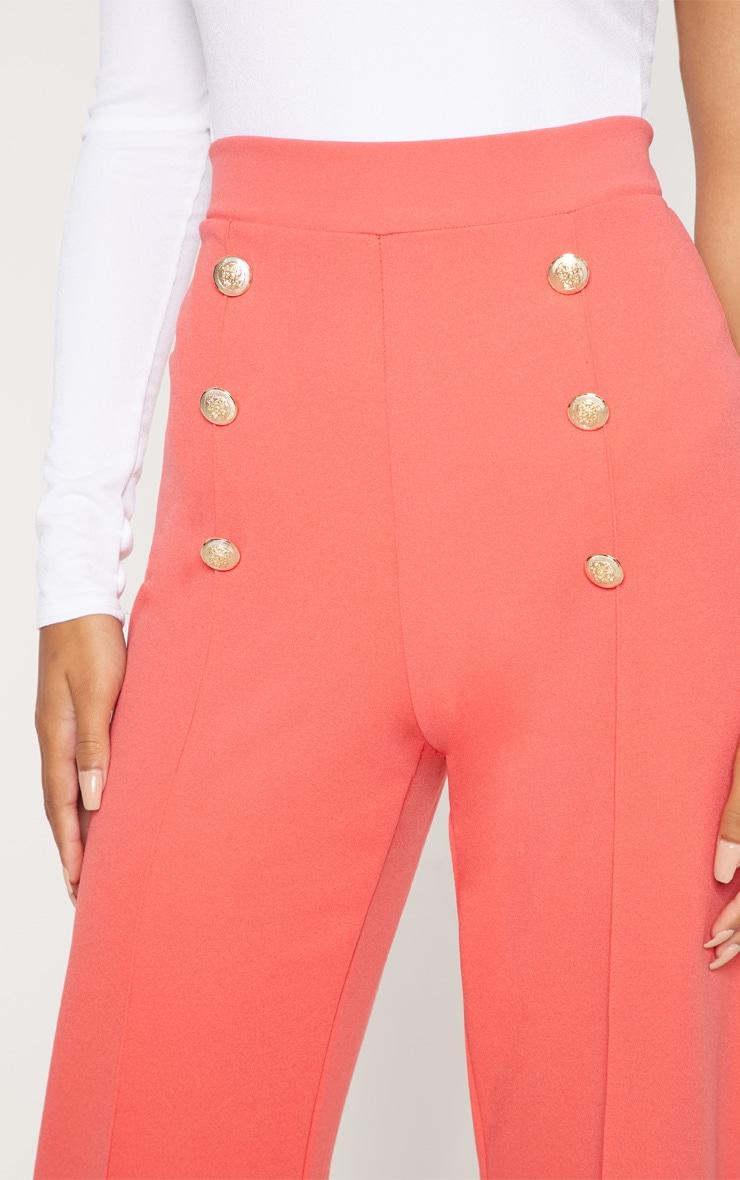 Coral Button Front Wide Leg Trouser 5