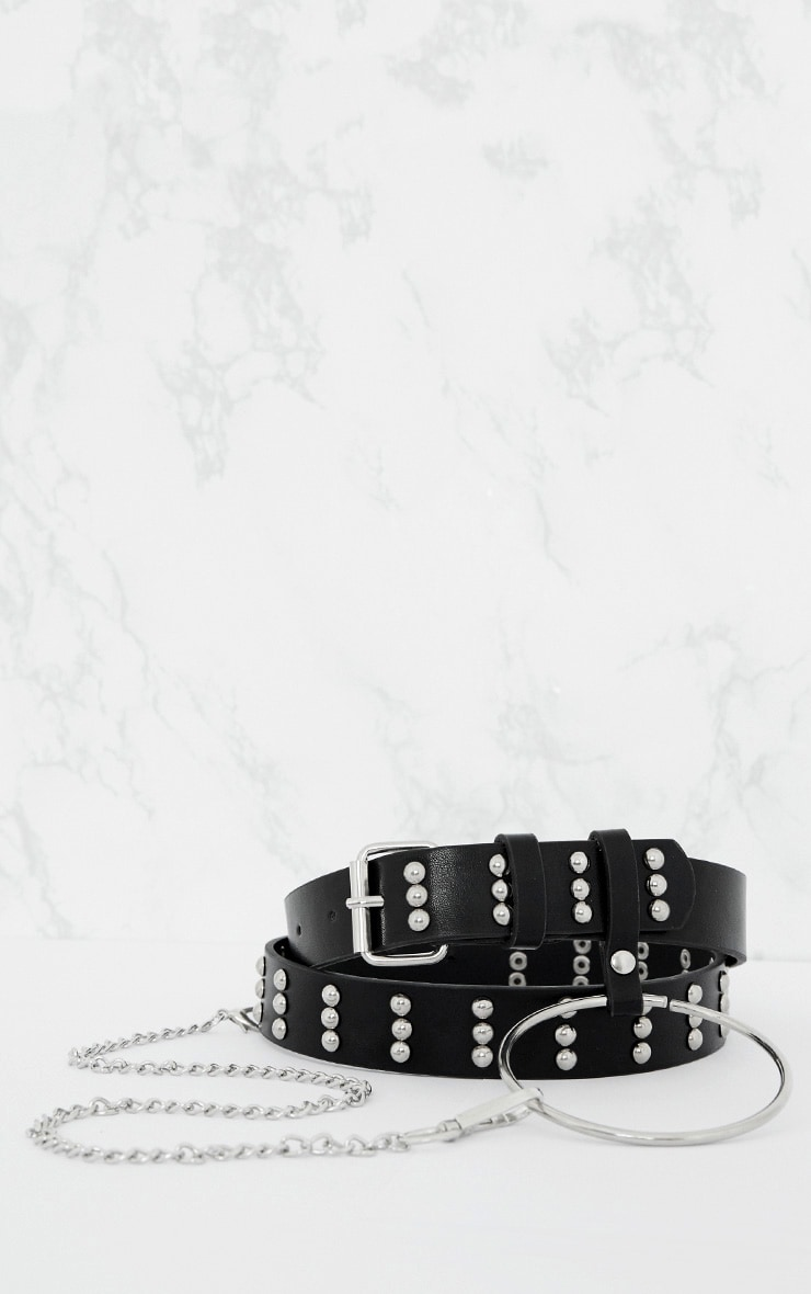 Black Ring and Chain Detail Waist Belt 4