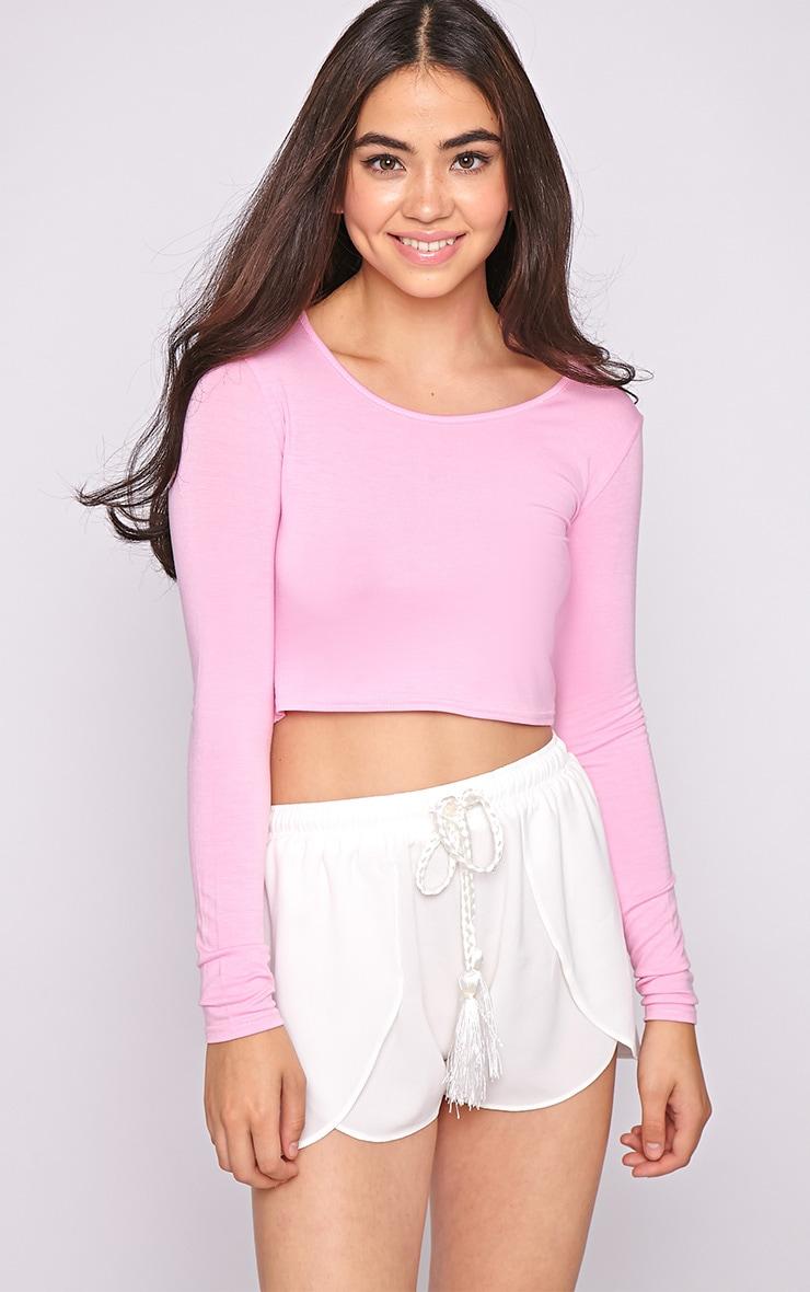 Suzy Pink Long Sleeved Crop Top  4
